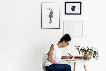 Hand drawing seahorse photo hanging on the wall