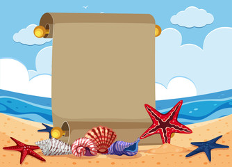 Banner template with starfish on the beach