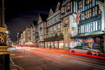 Foto op Aluminium Londen rode bus Christmas lights 2016 in Carnaby, London