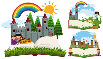 Storybook with fairytale characters and castles