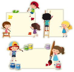 Paper template with kids painting on paper