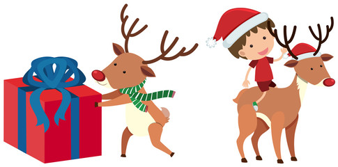 Reindeer and boy in christmas costume