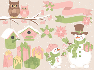 Vector Christmas and New Year Set with Snowmen, Owls and Festive Winter Elements