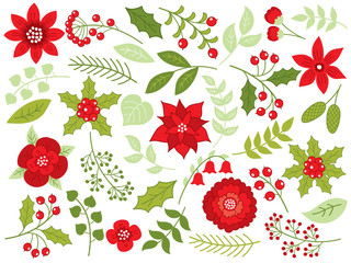 Vector Floral Christmas Set