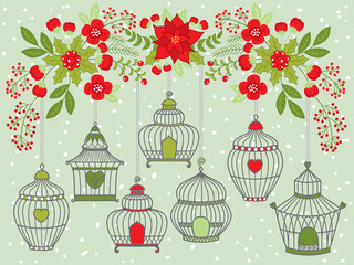 Vector Birdcages Hanging from Christmas Floral Branch