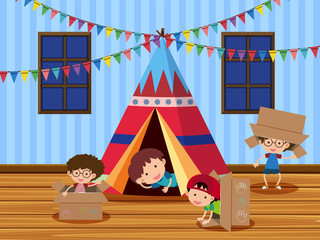 Children playing in the tent