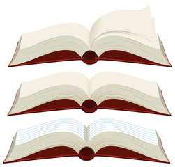 Three blank books with red covers