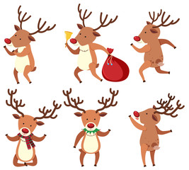 Christmas reindeer doing different things