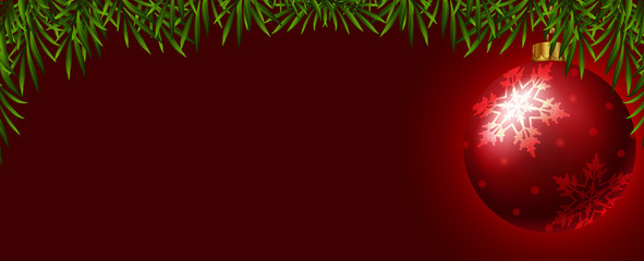 Background template with red christmas ball