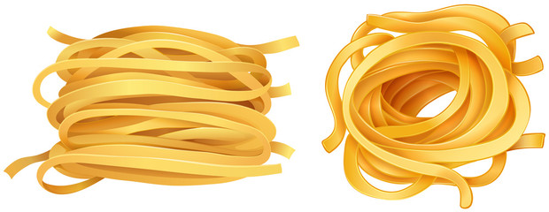 Pasta noodles on white background