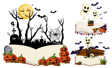 Three books with halloween scenes