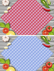 Two background with herbs and vegetables