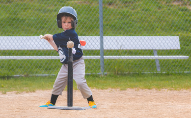 Young Child Playing Baseball