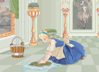 Canvas Prints Fairytale World Sad Cinderella Cleaning