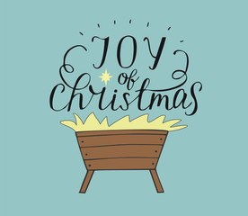 Hand lettering Joy of christmas with manger and star
