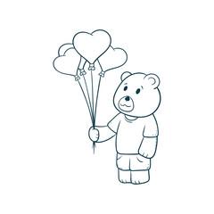 cute teddy bear holding balloon love cartoon illustration