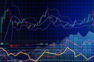 business financial concept with double exposure of Candle stick graph chart of stock market investment trading