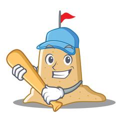 Playing baseball sandcastle character cartoon style
