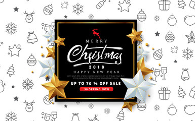 Merry christmas sale banner with silver and golden star.Vector illustration template.greeting cards.