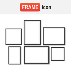 Frame Design. Frame for picture. Set of black blank photo frames
