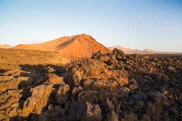 Volcanic landscape in Los Hervideros. Lanzarote. Canary Islands. Spain