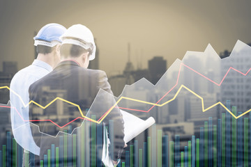 engineer business man discussion with city building background with business graph chart analysis