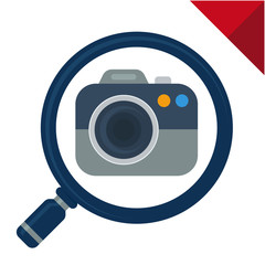 abstract icon for image search, illustrated with magnifying glass and camera