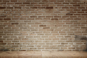 Empty wood table top grunge red brick wall background. For display or montage your products.