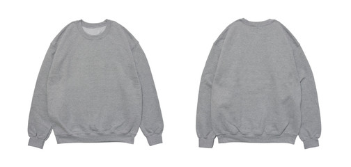 Blank sweatshirt color grey template front and back view on white background