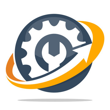 logo icons for mechanical business, setting, service, repair and maintenance
