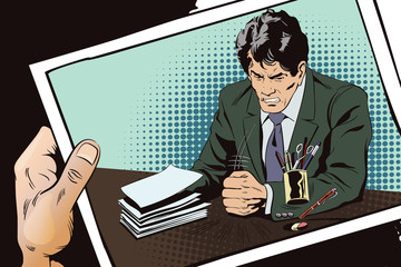 Angry businessman knocks on table with his fist. Stock illustration.