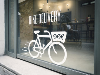 Printed roller blinds Bicycle bike delivery concept on urban showcase