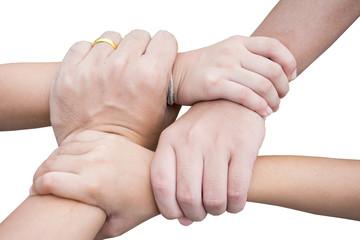 harmonious hand of team work under warm light