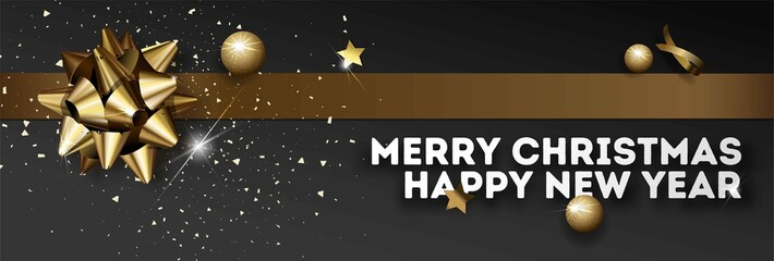 Merry Christmas Happy New Year vector greeting card golden Christmas decoration banner