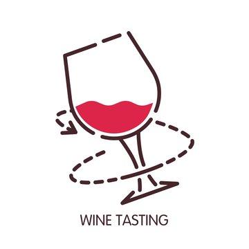 Wine tasting glass vector icon for sommelier degustation infographic