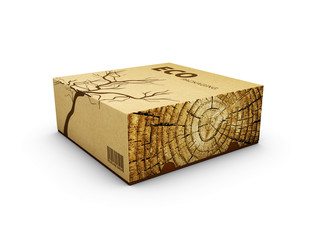 3d Illustration of Wooden box on white background