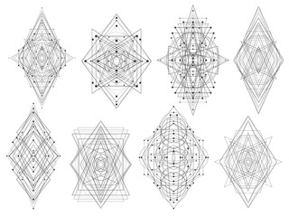 Geometric shapes triangles rhombs circles dots. Abstract vector symbols. Esoteric. Alchemy. Tattoo and bodyart.
