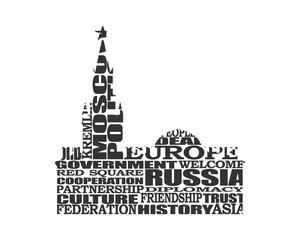 Spasskaya Tower of Kremlin and part of the wall in Moscow designed fron relative words cloud.