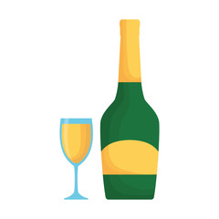 colorful bottle champagne with  glass of champagne over white background  vector illustration