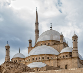 Domes of the great Mosque of Muhammad Ali Pasha (Alabaster Mosque), situated in the Citadel of Cairo, Egypt, commissioned by Muhammad Ali Pasha 1830 - 1848, one of the landmarks of Cairo