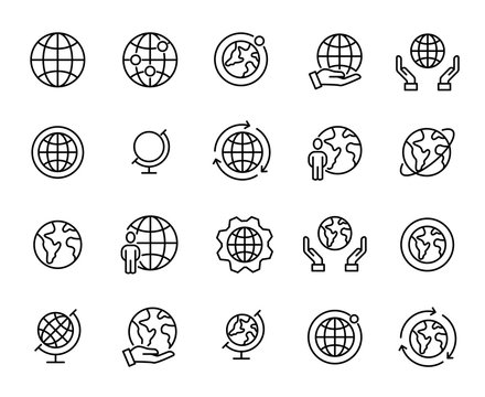 Simple set of globe related outline icons