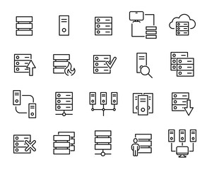 Modern outline style server icons collection