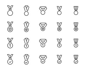 Simple collection of medal related line icons.