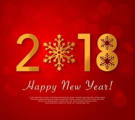Happy New Year 2018 design. Vector red greeting illustration