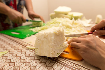 salting cabbage at home in the kitchen