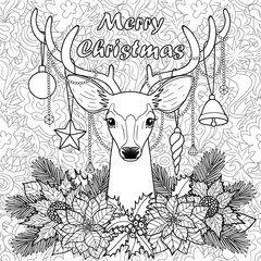 Merry Christmas Deer on Doodle Seamless Background
