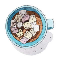 Coffee with marshmallow. Hand drawn watercolor illustration.