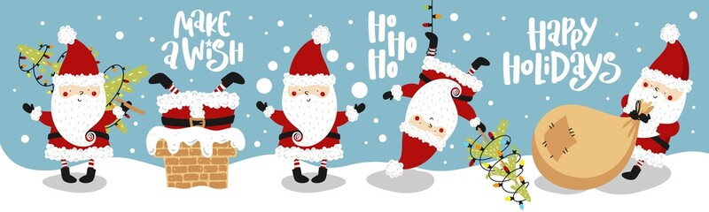 Collection of Christmas Santa Claus with hand drawn lettering