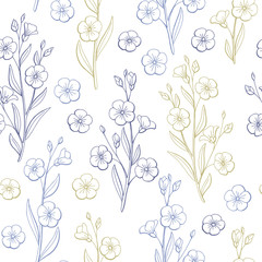 Flax flower graphic color seamless pattern sketch illustration vector