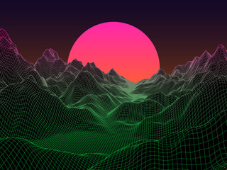 Abstract landscape with sphere sun on horizon. Technology vector background.